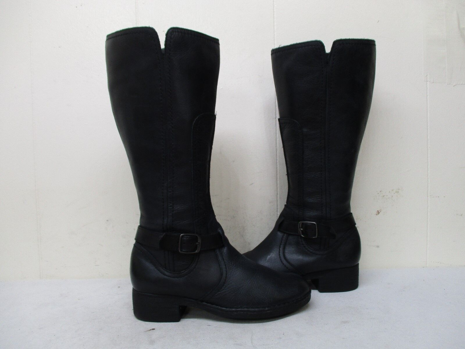 Clarks Black Leather Zip Riding Boots Womens Size 5 M Style 34933