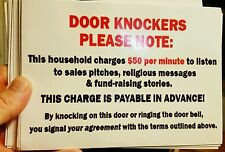 """""""DOOR KNOCKERS PLEASE NOTE"""" sign hilarious 5""""x7"""" decal! As seen on facebook!"""