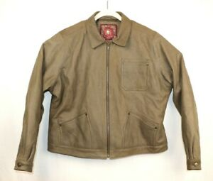 The-territory-Ahead-Womens-Size-XLarge-Brown-Leather-Bomber-Jacket-Full-Zip-EUC