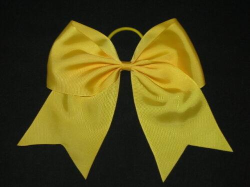 "NEW /""GOLD YELLOW/"" Cheer Bow Pony Tail 3 Inch Ribbon Girls Hair Bows Cheerleading"