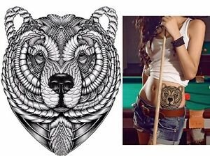 Tribal Black Bear Tattoo Temporary Stickers Body Art 3d Waterproof