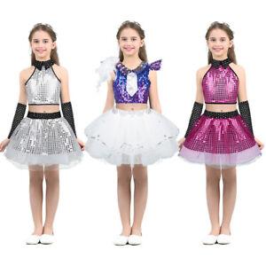 Kid-Girl-Sequins-Jazz-Dance-Dress-Hip-Hop-Crop-Top-Tutu-Skirt-Dancewear-Outfits
