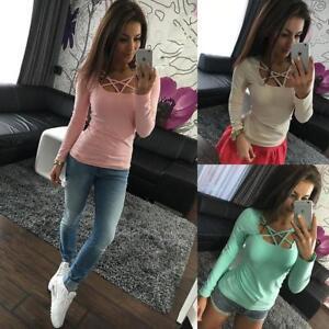 Damen-Langarm-Shirt-T-Shirts-TOP-Oberteil-Herbst-Longsleeve-Pullover-Pulli-BC425