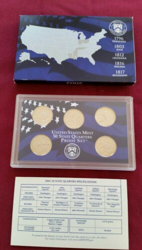 2002 US Clad Quarter Proof Set in Original Mint Packaging FREE SHIPPING