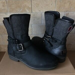 96fe52a1406 Details about UGG SIMMENS BLACK WATERPROOF LEATHER WOOL SHORT BOOTS SIZE US  6 WOMENS