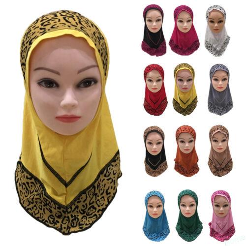 Kids Girls Muslim Hijab Hat Prayer Headscarf Islamic Head Wrap Shawls One Piece