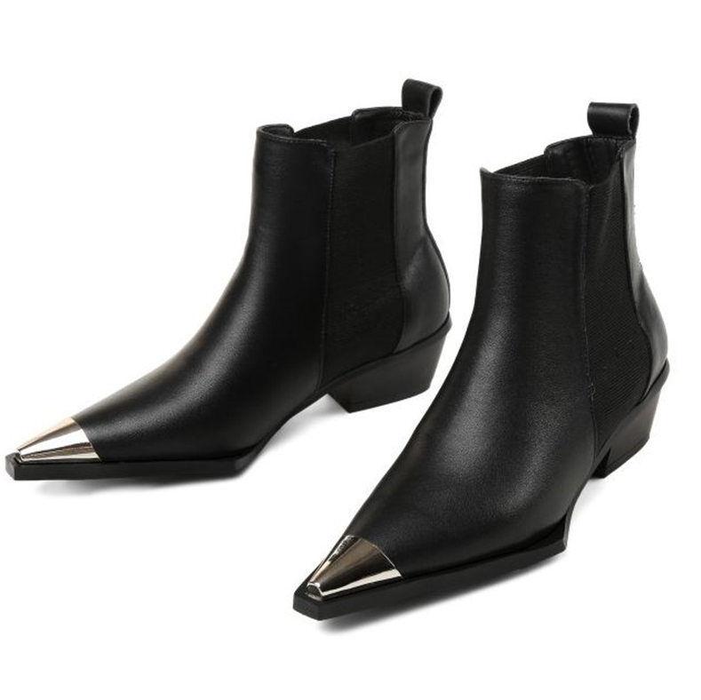 Donne Autentiche Leather Metal Pointed Toe Ankle stivali Chelsea Low  Heel Oxfords nuovo  spedizione gratuita!