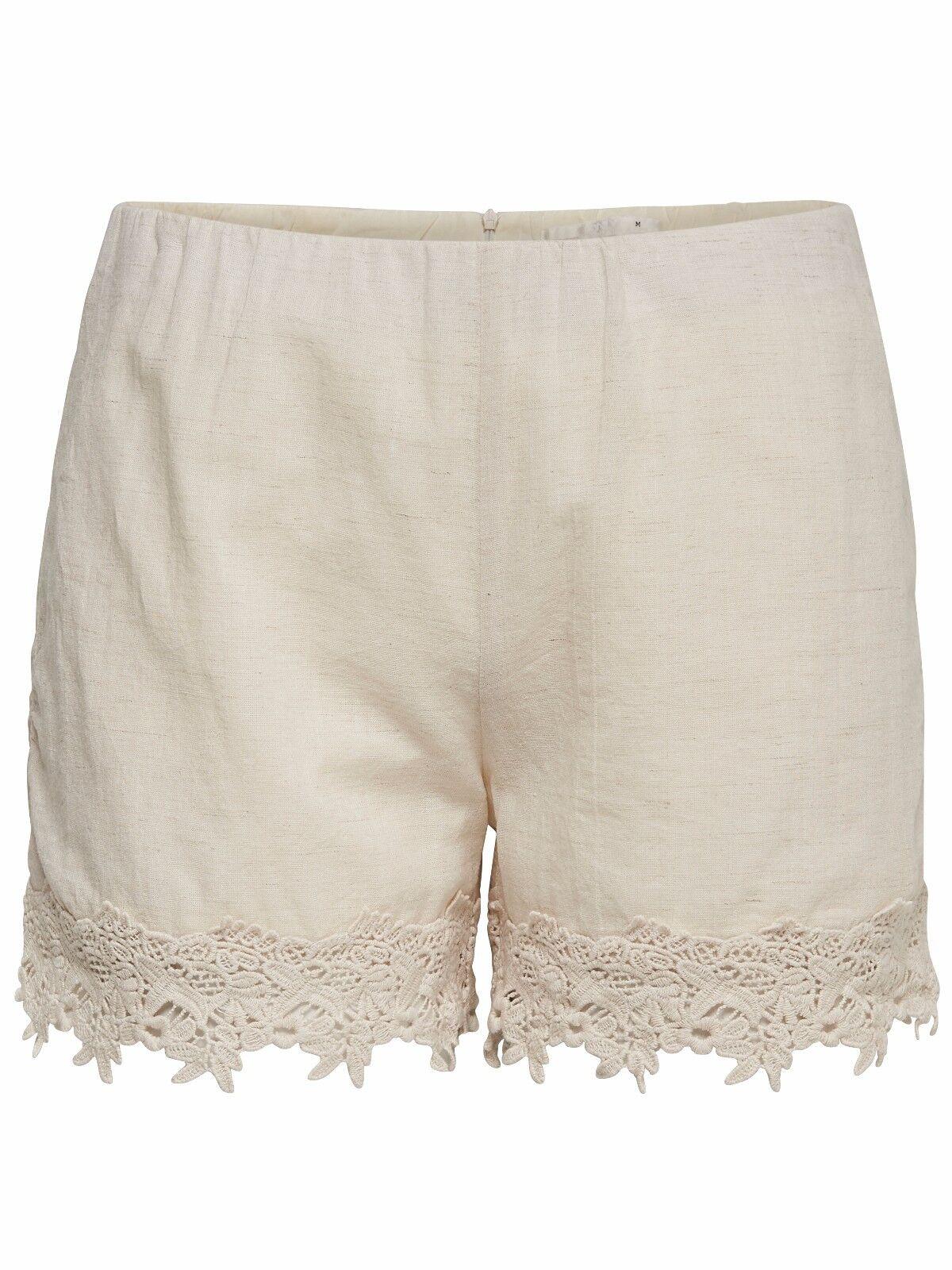 34/4 NEU ONLY Damen Leinen Sommer Hotpant kurze Hose onlRONA LACE SHORTS Gr.M