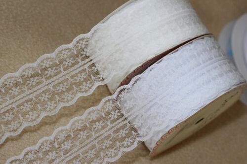 ANTIQUE WHITE Bertie/'s Bows 40mm Double Scalloped Edge Vintage Style Flat Lace