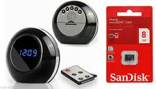 HD Multi-Function Mirror Alarm Clock Camera DVR Recorder Cam Free 8gb Card