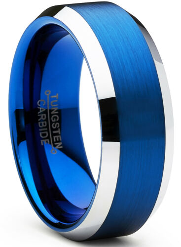Tungsten Carbide Men/'s Brushed Wedding Band Blue Engagement Ring