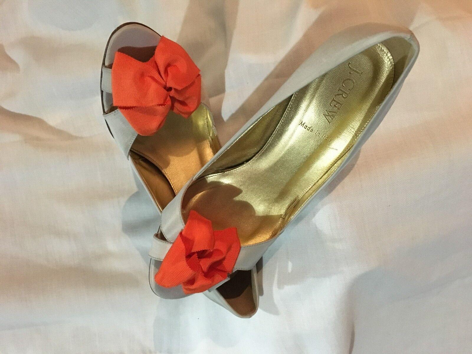 J.Crew Peep Toe Satin Orange Bow Size 8.5 Shoe 12057 Donna Made in Italy Stylish
