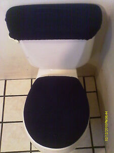 Navy Blue Fleece Toilet Seat And Tank Top Cover Set Ebay