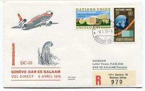 éNergique Ffc 1978 Swissair First Direct Flight Geneve Dar Es Salaam Tanzania Registered Apparence éLéGante