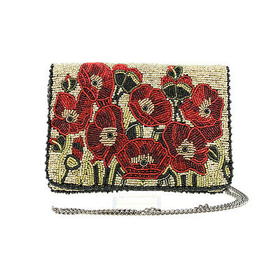 Mary Frances Poppies Red Mini Pouch Purse Flowers Flower Handbag Beaded Bag New