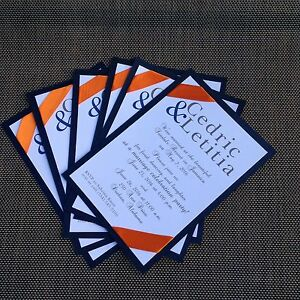Image Is Loading Navy And Orange Wedding Invitation Card