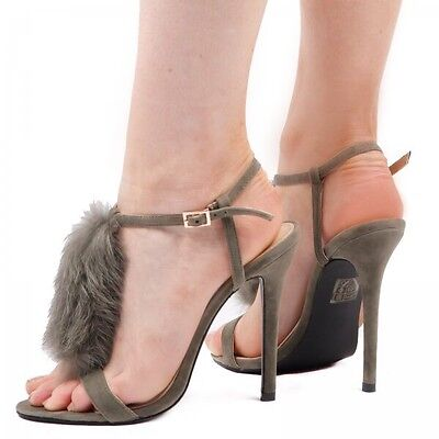 Ego Zapatos Mabel tacones altos en Caqui Imitación Gamuza UK 7