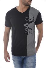 367cbdf1 Men's V 1969 ITALIA Versace Black Graphic V-neck T-shirt Center Logo ...