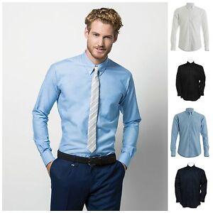 Mens Slim Fit Long Sleeve Oxford Shirt Business Work Smart Formal