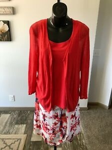 Large/10 Hot Sale 50-70% OFF Nic Zoe Coral/white Floral Sweater/skirt/tank Set
