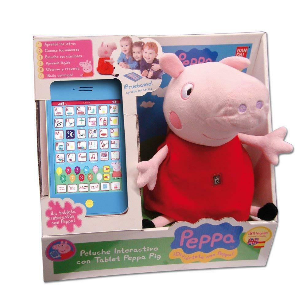 Peppa Pig Peluche Interactivo con Tablet Bilingúe Juega y Aprende Letras Numeros