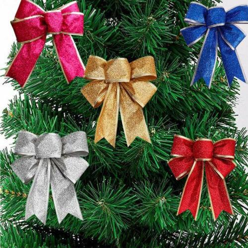 10X Large Big Bows Flash Bowknot Christmas Tree Ornaments XMAS Party Home Decor