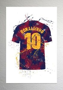 Roma Football Shirt Art Splash Effect Calcio A Francesco Totti A4 Size