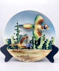 Vtg-Lefton-Rare-Signed-6638-3D-Pheasants-Ceramic-Hanging-Collectible-Plate-8-W