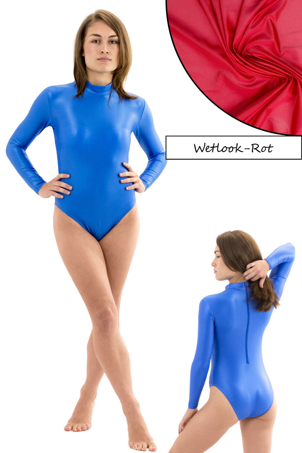 Damen Wetlook Body starker RRV lange Ärmel starker Body Glanz stretch shiny Hauteng S bis XL c7e2cd