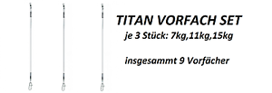 30cm 15kg Angeln JENZI TITAN VORFACH SET 9teilig je 3x: 30cm 7kg 30 cm 11kg
