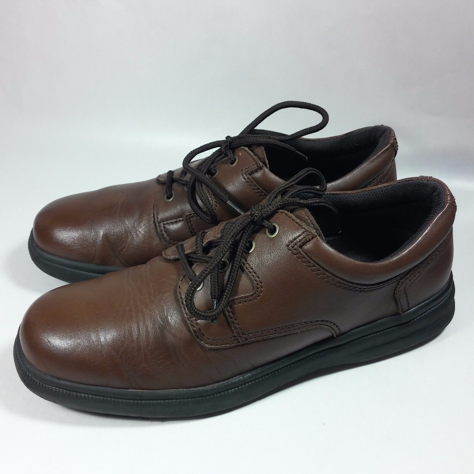 Men's Hush Puppies Comfort Curve Casual Comfort Oxford Brown Leather Shoes-11 M