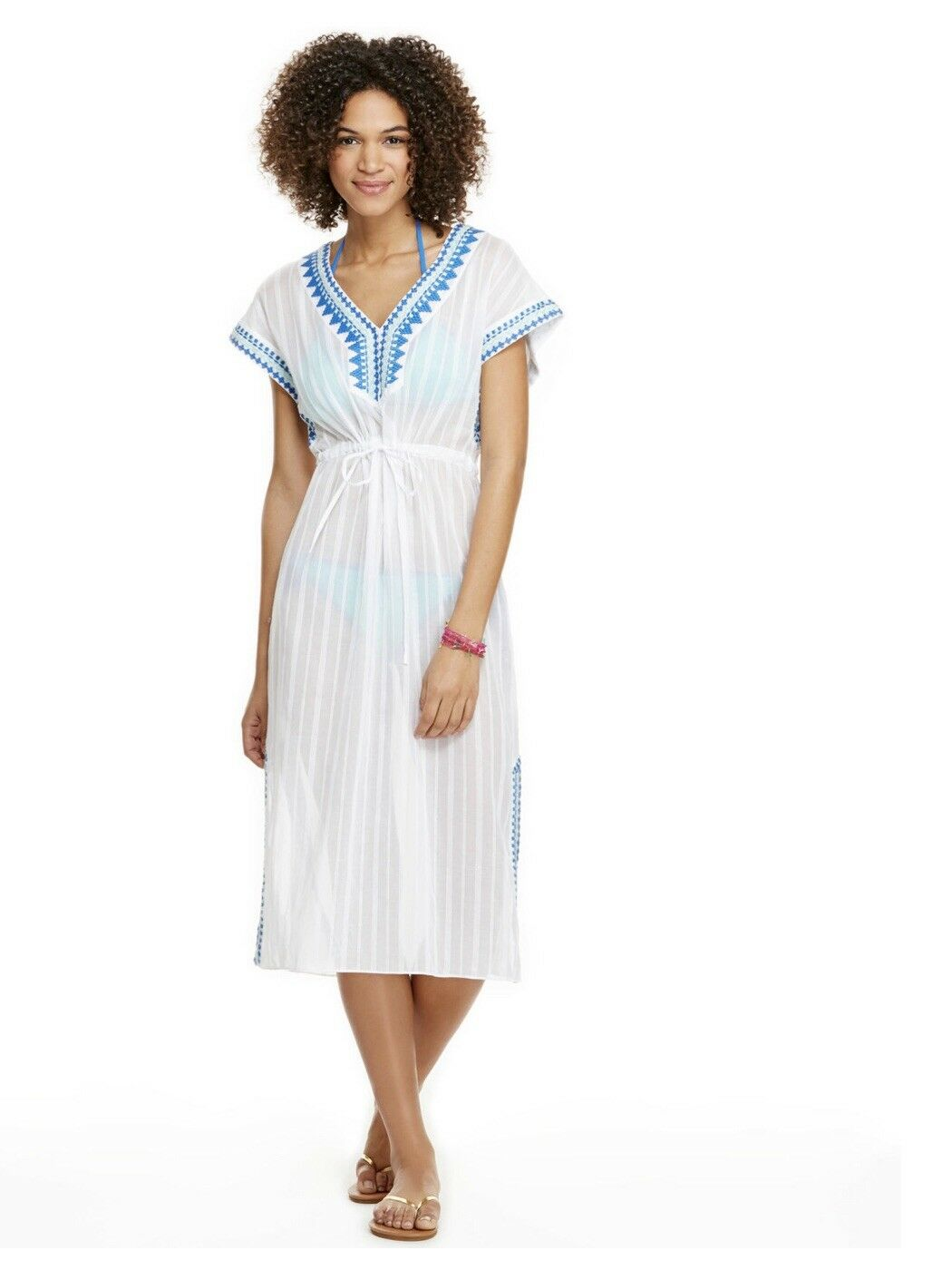 Vineyard Vines Embroiderot Striped Cotton Maxi Cover-Up NWt MSRV