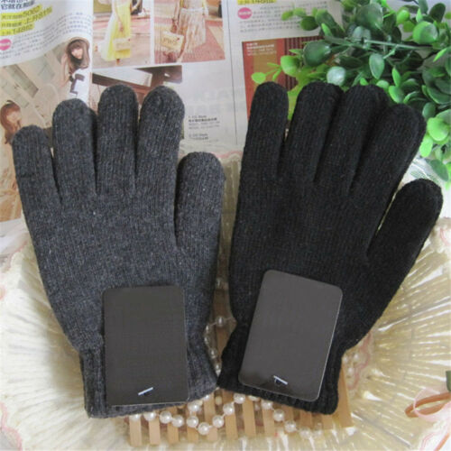 Autumn /& Winter Men/'s Knitted Gloves Male Thicken Thermal Wool Gloves Mittens