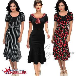 Women-Vintage-Retro-Evening-Party-Polka-Cocktail-Evening-1940s-50s-Swing-Dress