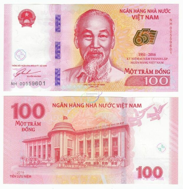 Vietnam 100 Dong 65th Anniversary Commemorative 2016 P 125 Unc