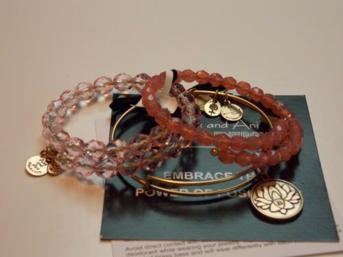 ALEX AND ANI Set of 3  LOTUS PEACE PETALS bangle bracelet retired pieceS