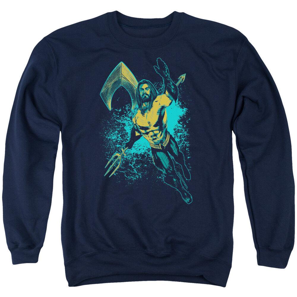 Aquaman Movie Sweatshirt Splash Navy Pullover