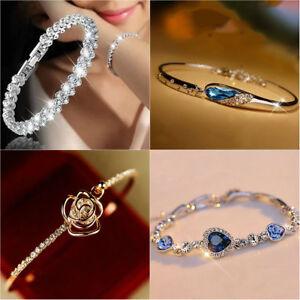 Fashion-Silver-Plated-Crystal-Chain-Bracelet-Women-Charm-Cuff-Bangle-New-Jewelry