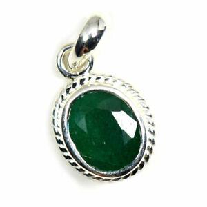 Echter-Smaragd-925-Sterling-Silber-5-Karat-Anhanger-Charm-Halskette-grun-Schmuck
