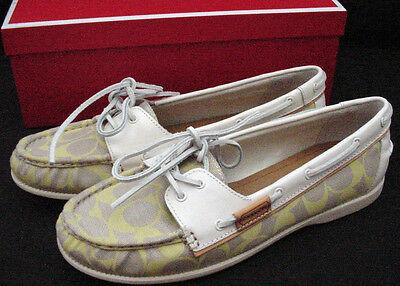 NEW Coach Coralin Canvas Logo Signature C Boat Deck Shoe Khaki Women Sz 7 9.5-10