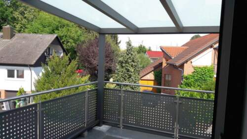 Terrassendach Alu 10 mm VSG klar Terrassenüberdachung 5 m breit Glas Carport