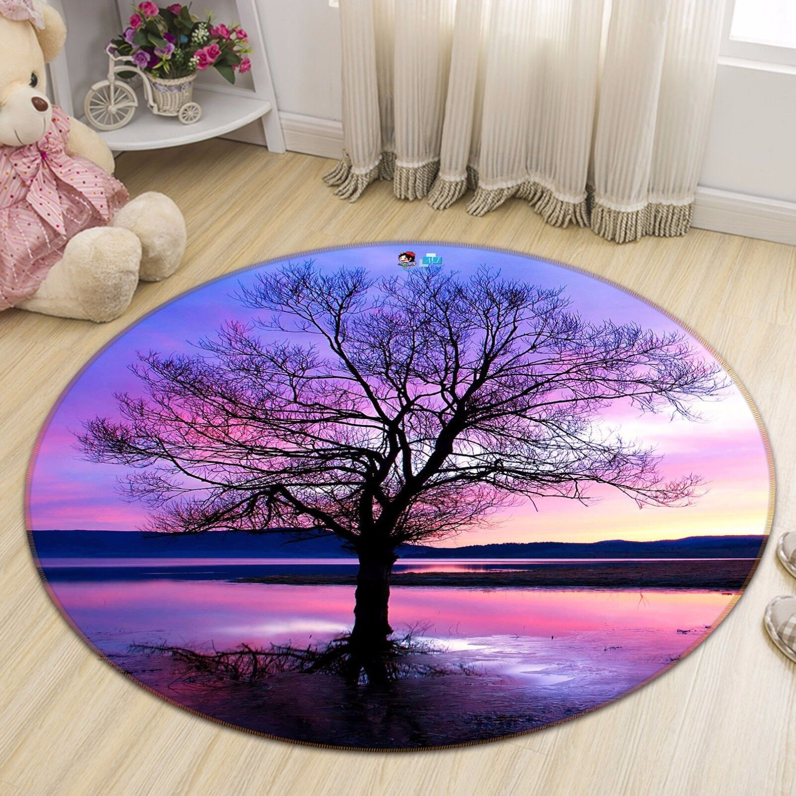 3D viola Sky Tree 933 Non Slip Rug Mat Room Mat Round Elegant Photo Carpet CA
