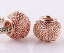 10pcs Rose Gold hollow big hole spacer beads fit Charm European Bracelet AA943