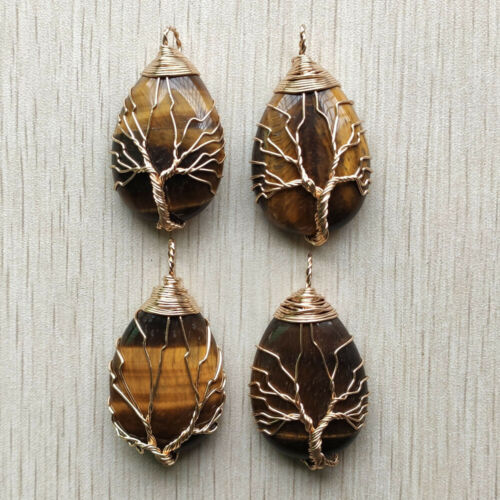 Wholesale 4pcs//lot natural tiger eye stone Wire Wrap tree of life drop pendant