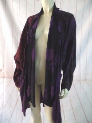 Uru Art to Wear Top Wrap One Sz Purple Rayon Open Front HandDyed Floral Flimsy