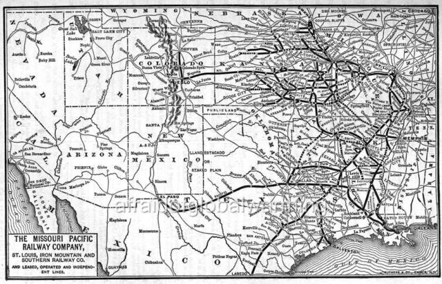 Map 1900 Missouri Pacific Railroad