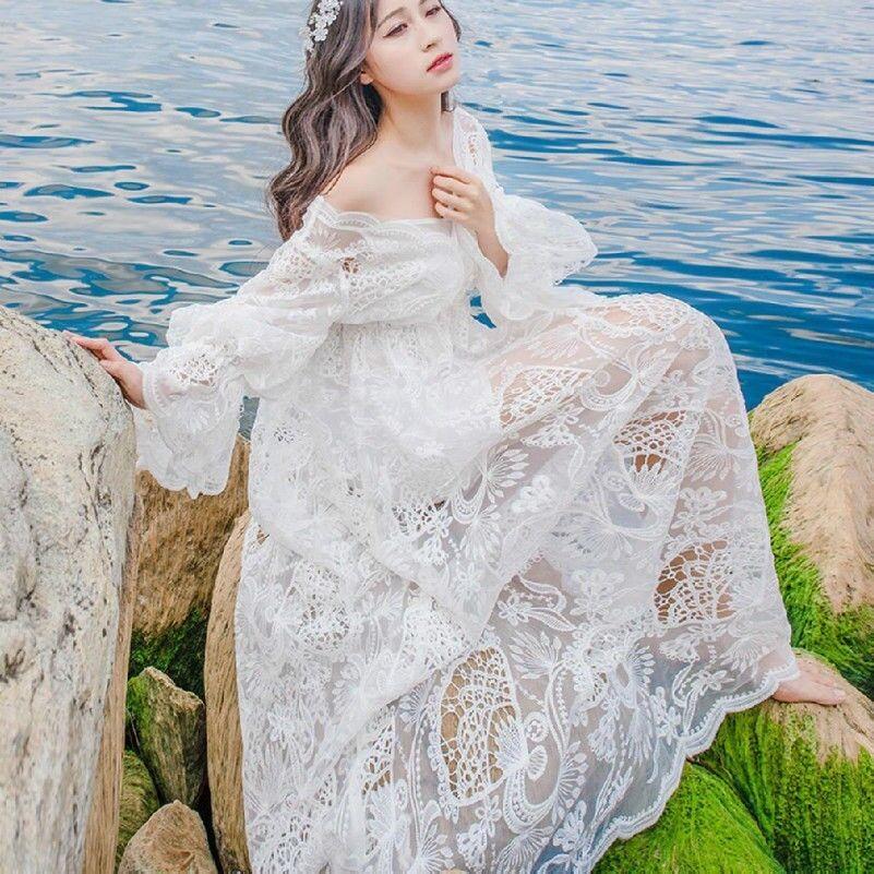 Ladies Hollow Out Lace Dress Cute Lolita Princess Maxi Dress Beach Flare Sleeves