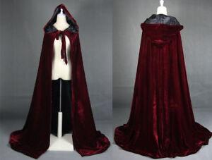 Hooded-Velvet-Halloween-Cloak-Cape-Wizard-Vampire-Witch-Wedding-Wicca-Medieval