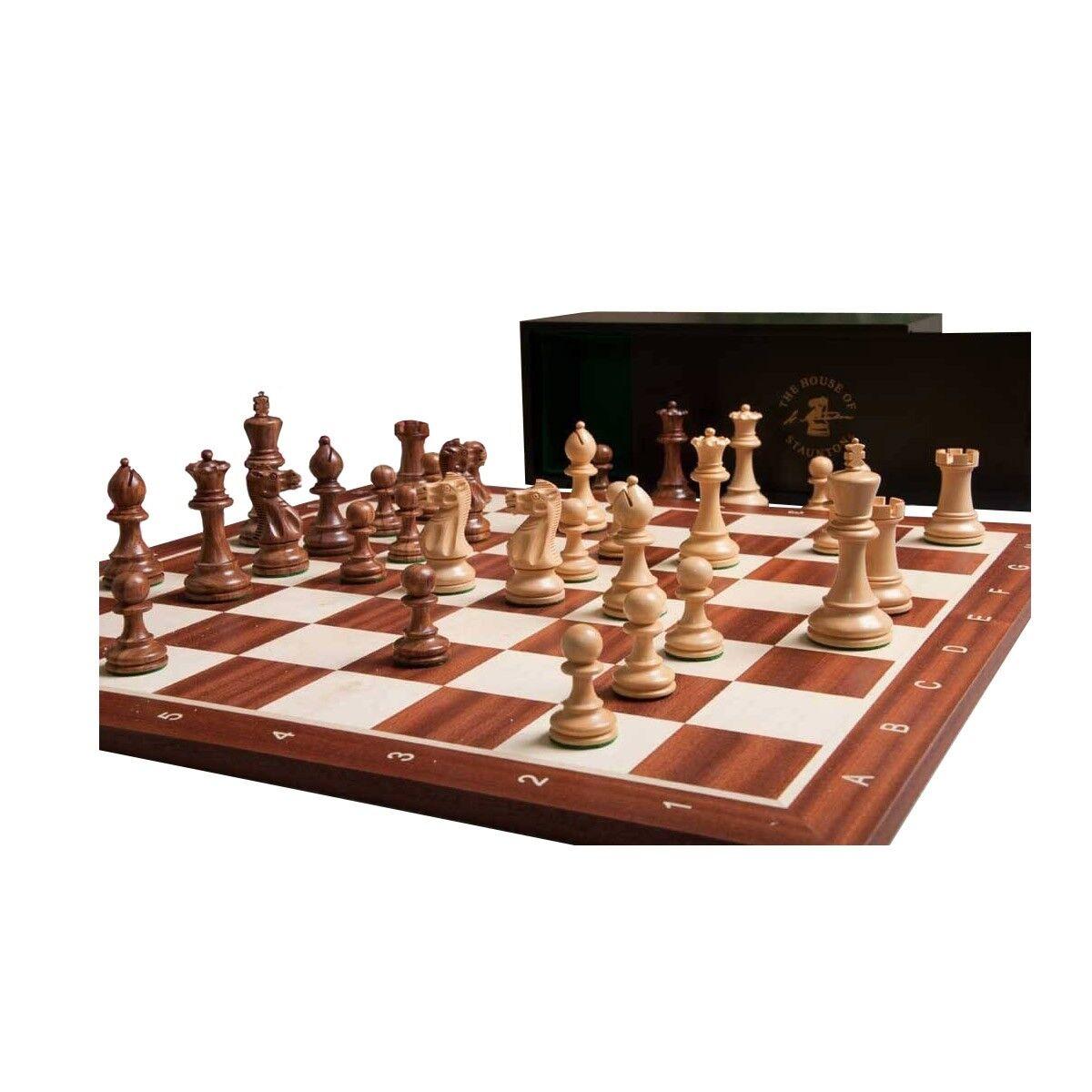 The Grandmaster Chess set, Box, & Board Combination - oroen rosawood and Natura