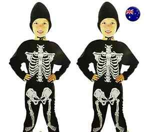 Kid-Child-Boy-Girl-Scary-Halloween-Skull-Skeleton-Party-Costume-Bodysuit-Set